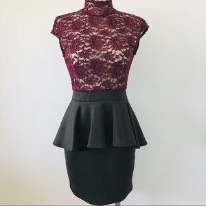 Windsor burgundy lace top and black mini dress